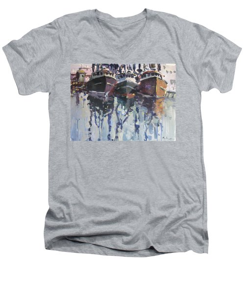 Men's V-Neck T-Shirt featuring the painting Reflections II by Robert Joyner