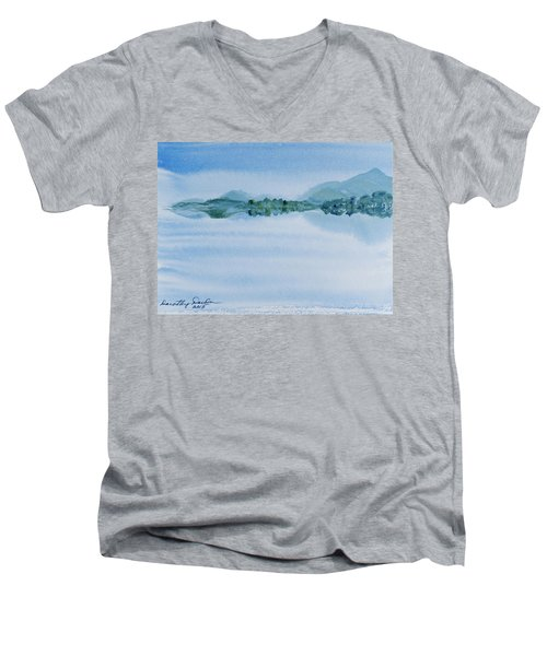 Reflection Of Mt Rugby In Bathurst Harbour Men's V-Neck T-Shirt