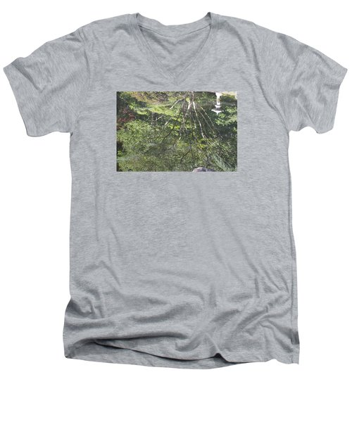 Men's V-Neck T-Shirt featuring the photograph Reflections In The Japanese Gardens by Linda Geiger