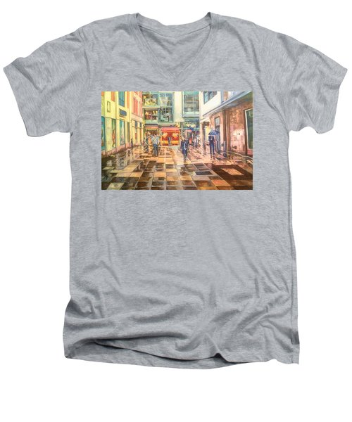 Reflections In The Pavement, Brown Street, Manchester Men's V-Neck T-Shirt