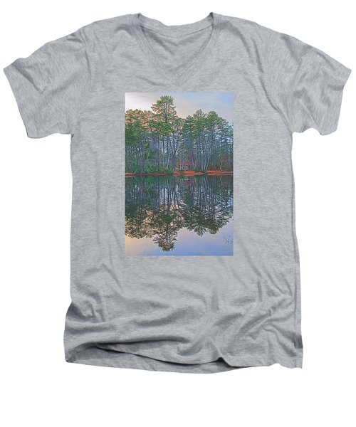 Reflections In The Pines Men's V-Neck T-Shirt