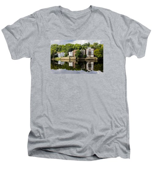 Men's V-Neck T-Shirt featuring the photograph Reflections Of Haverhill On The Merrimack River by Betty Denise