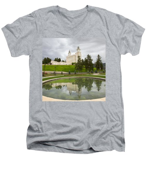 Reflections Of The Manti Temple At Pioneer Heritage Gardens Men's V-Neck T-Shirt