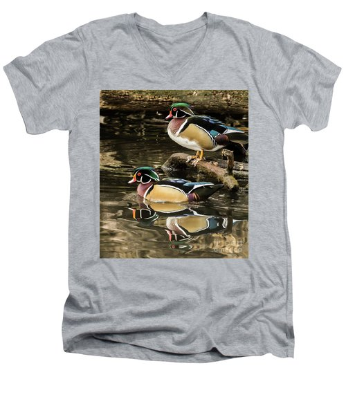 Reflections Of You And Me Wildlife Art By Kaylyn Franks Men's V-Neck T-Shirt