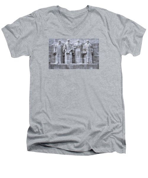 Reformers Wall, Geneva, Switzerland, Hdr Men's V-Neck T-Shirt