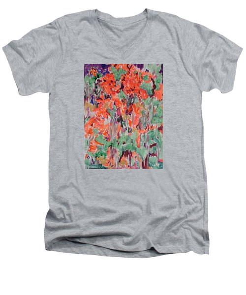 Regal Red Fall Foliage Men's V-Neck T-Shirt by Esther Newman-Cohen