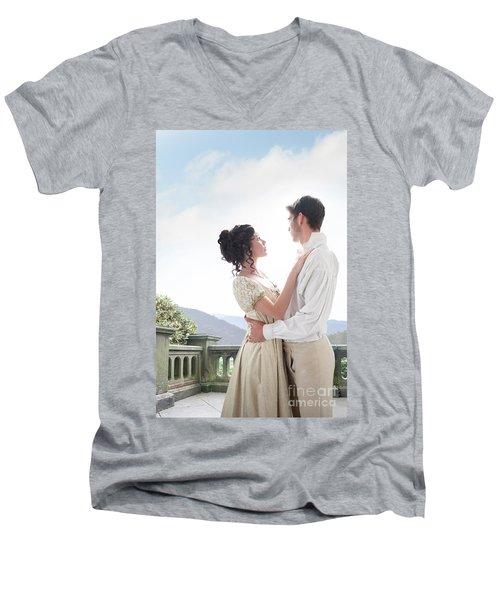 Regency Couple Embracing On The Terrace Men's V-Neck T-Shirt
