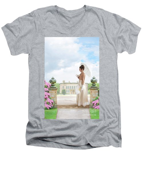 Regency Woman In The Grounds Of A Historic Mansion Men's V-Neck T-Shirt