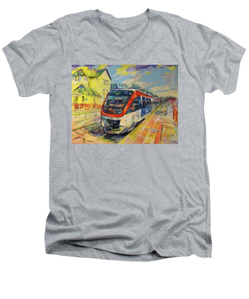 Regiobahn Mettmann Men's V-Neck T-Shirt by Koro Arandia