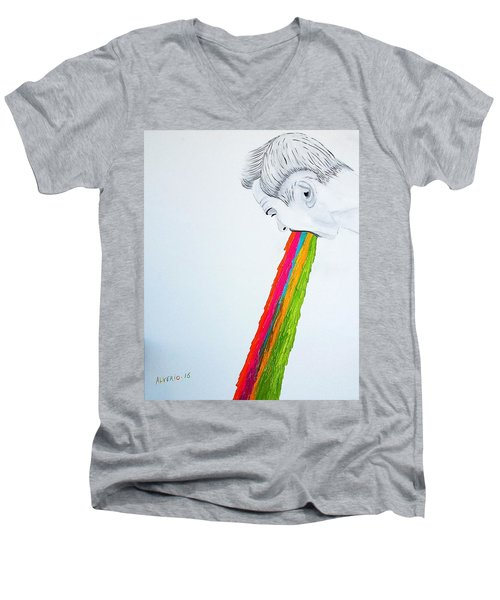 Men's V-Neck T-Shirt featuring the painting Regurgitate by Edwin Alverio