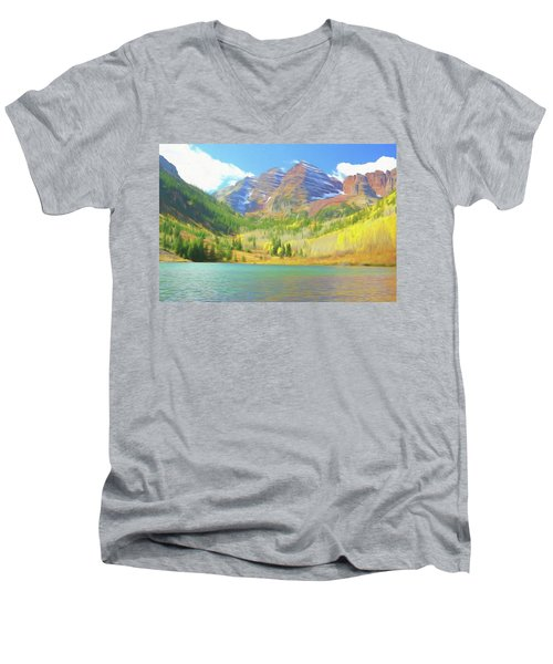 Men's V-Neck T-Shirt featuring the photograph The Maroon Bells Reimagined 1 by Eric Glaser