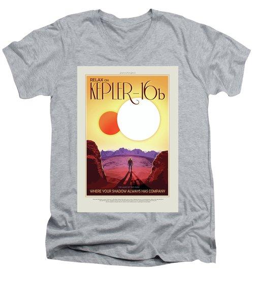 Relax On Kepler - 16b - Vintage Nasa Poster Men's V-Neck T-Shirt