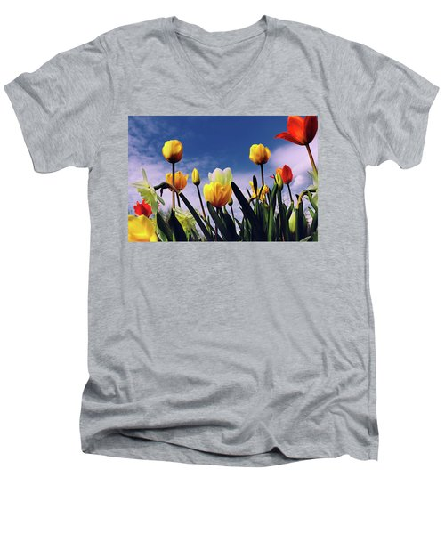 Relax With The Tulips Men's V-Neck T-Shirt