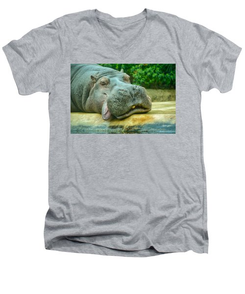 Relaxing Hippo Men's V-Neck T-Shirt