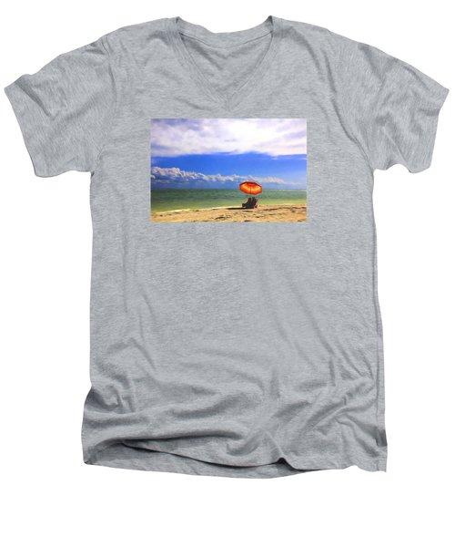 Relaxing On Sanibel Men's V-Neck T-Shirt by Sharon Batdorf