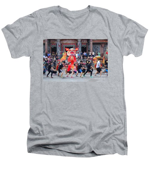 Religious Martial Arts Performance In Taiwan Men's V-Neck T-Shirt
