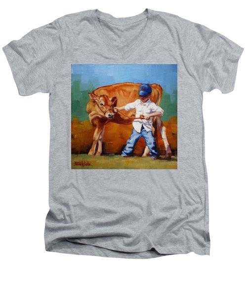 Reluctant Showgirl Men's V-Neck T-Shirt by Margaret Stockdale