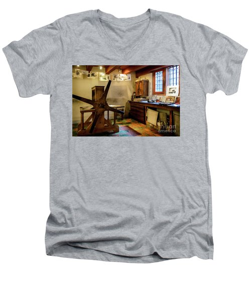 Men's V-Neck T-Shirt featuring the photograph Rembrandt's Former Graphic Workshop In Amsterdam by RicardMN Photography
