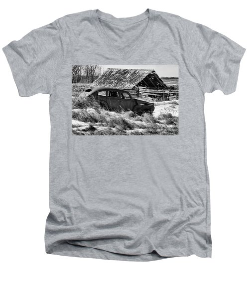 Men's V-Neck T-Shirt featuring the photograph Remember The Past Work For The Future by Bob Christopher