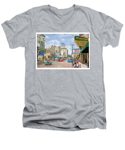 Men's V-Neck T-Shirt featuring the painting Remembering Duval St. by Bob George