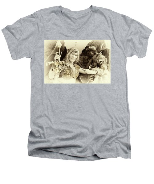 Men's V-Neck T-Shirt featuring the photograph Renaissance Festival Barbarians by Bob Christopher