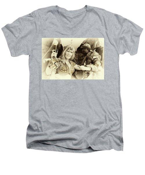 Renaissance Festival Barbarians Men's V-Neck T-Shirt by Bob Christopher