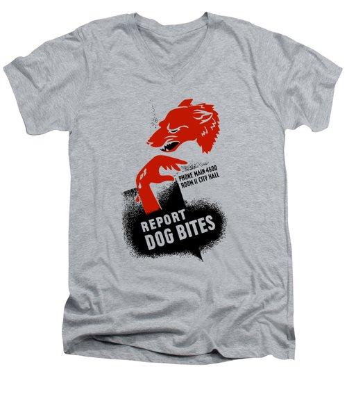 Report Dog Bites - Wpa Men's V-Neck T-Shirt