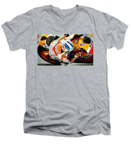 Repsol Honda Men's V-Neck T-Shirt by Bill Stephens