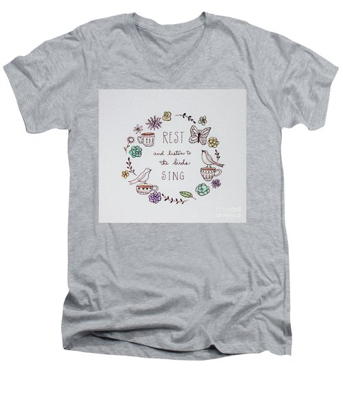 Rest And Listen To The Birds Sing Men's V-Neck T-Shirt by Elizabeth Robinette Tyndall
