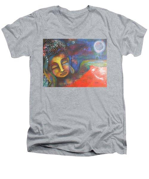 Buddha Resting Under The Full Moon  Men's V-Neck T-Shirt