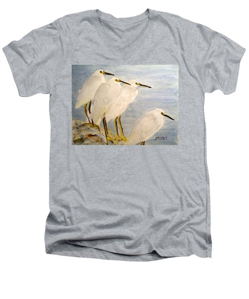 Men's V-Neck T-Shirt featuring the painting Resting Egrets by Carol Grimes