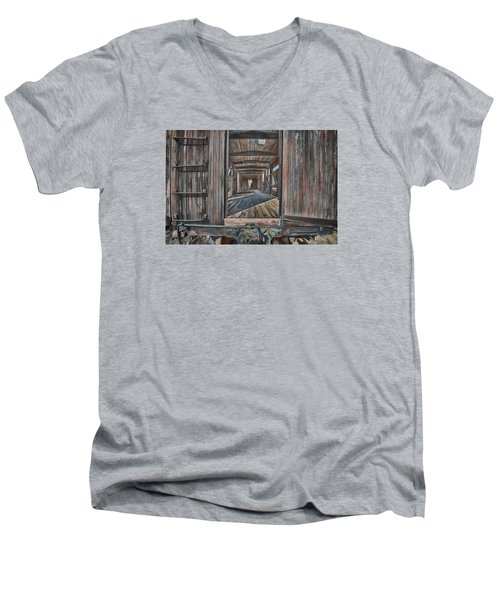 Retired Train Car Jamestown Men's V-Neck T-Shirt
