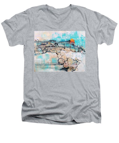 Men's V-Neck T-Shirt featuring the painting Retreat by Mary Schiros