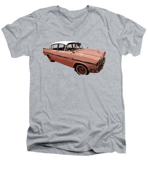 Retro Pink Car Art Men's V-Neck T-Shirt