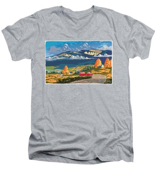 Retro Travel Autumn Landscape Men's V-Neck T-Shirt