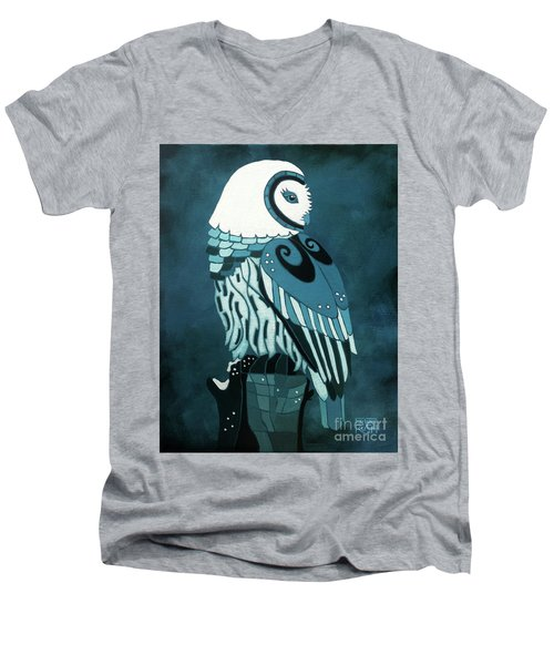 Retrospect In The Moonlight Owl Men's V-Neck T-Shirt