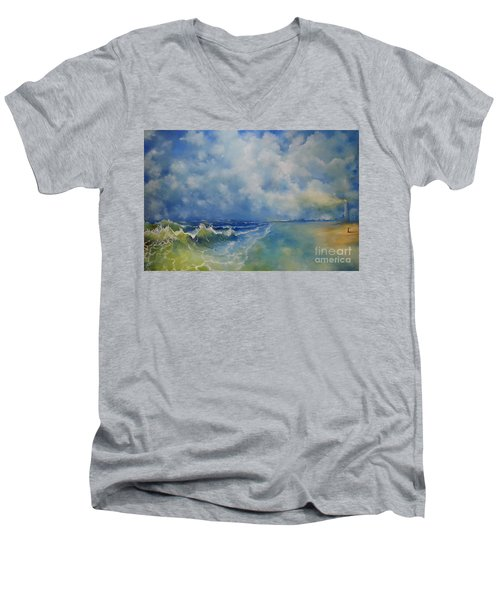 Retrospection Seascape Men's V-Neck T-Shirt by Maja Sokolowska