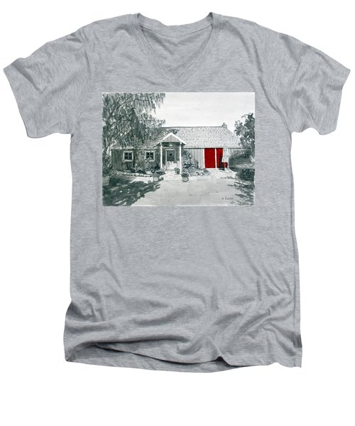 Retzlaff Winery With Red Door No. 2 Men's V-Neck T-Shirt by Mike Robles