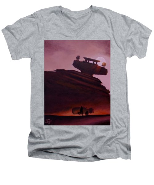 Men's V-Neck T-Shirt featuring the painting Rey Looks On by Dan Wagner