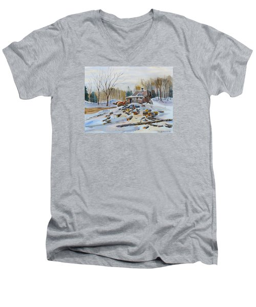 Reynold's Sugar Shack Men's V-Neck T-Shirt by David Gilmore
