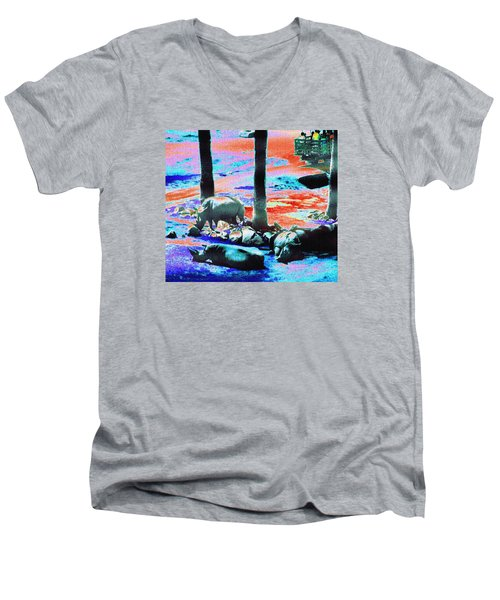 Rhinos Having A Picnic Men's V-Neck T-Shirt by Abstract Angel Artist Stephen K