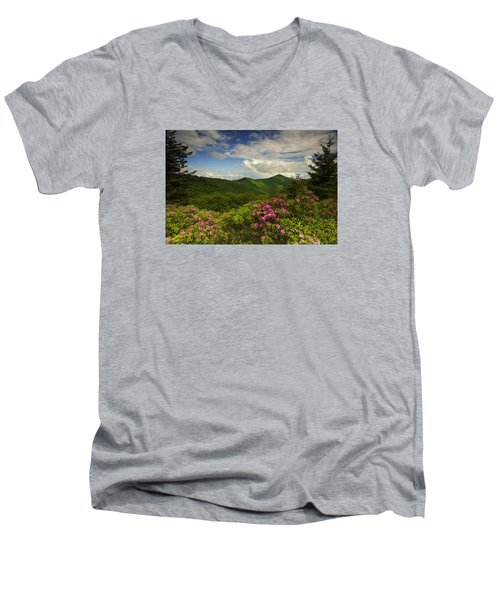 Rhododendrons On The Blue Ridge Parkway Men's V-Neck T-Shirt