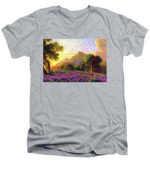Men's V-Neck T-Shirt featuring the painting Rhododendrons, Rabbits And Radiant Memories by Jane Small