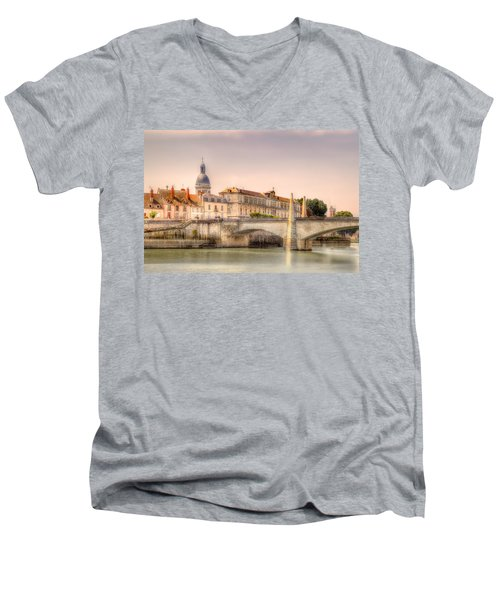 Bridge Over The Rhone River, France Men's V-Neck T-Shirt