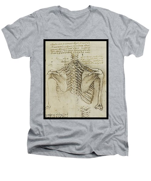 Men's V-Neck T-Shirt featuring the painting Ribcage Main by James Christopher Hill