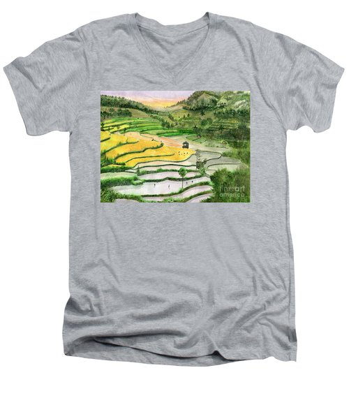Ricefield Terrace II Men's V-Neck T-Shirt by Melly Terpening