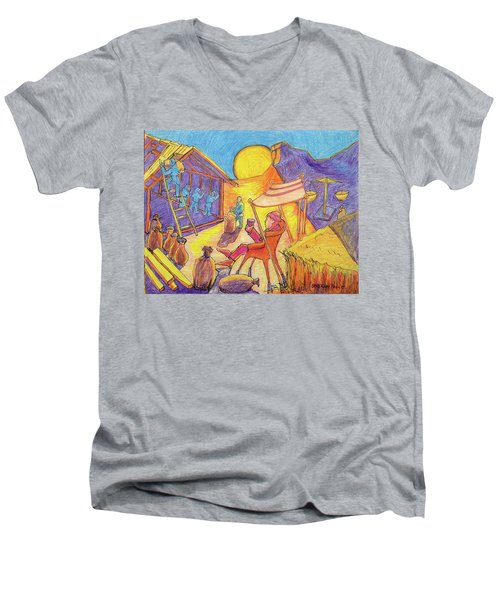 Men's V-Neck T-Shirt featuring the painting Rich Fool Parable Painting By Bertram Poole by Thomas Bertram POOLE