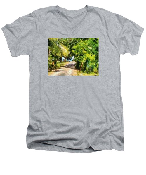 Rich Green Path Men's V-Neck T-Shirt by Ashish Agarwal