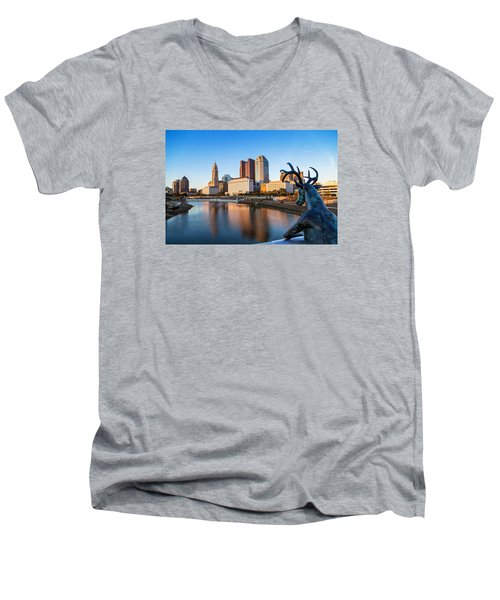Rich Street Bridge Columbus Men's V-Neck T-Shirt