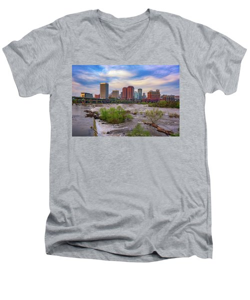 Men's V-Neck T-Shirt featuring the photograph Richmond Skyline by Rick Berk